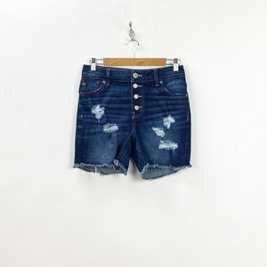 Maurices Dark Distressed High-rise Jean Shorts